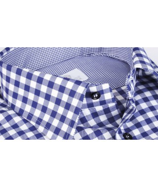 Camicia Quadro Blu 100% Cotone Natural Stretch Twill
