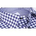 Camicia Quadro Blu 100% Cotone Natural Stretch Twill