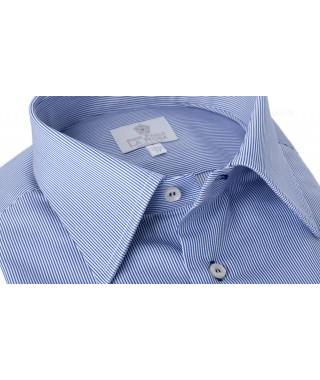 Camicia Piquet Millerighe Bluette 100% Cotone