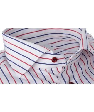 Camicia Popeline Doppia Riga Rossa e Blu 100% Cotone