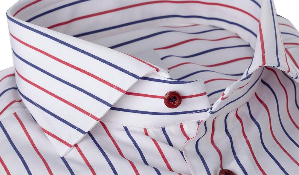 Camicia 100% Cotone Popeline Doppia Riga Rossa e Blu