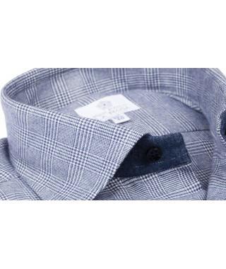 Camicia Flanella Principe di Galles Blu