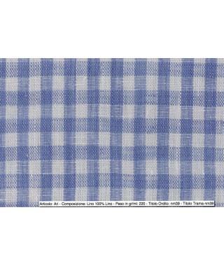 Tessuto Ari Lino Pied de Poul Multiquadro Bianco