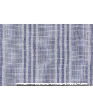 Tessuto Ari Lino Multi Riga Bluette