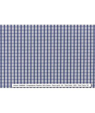 Tessuto Quadro Stretto 100% Cotone Blutte e Azzurro