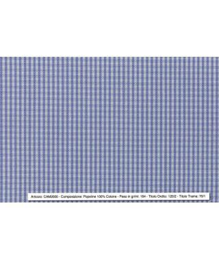 Tessuto Microquadro Vichy 100% Cotone Azzurro