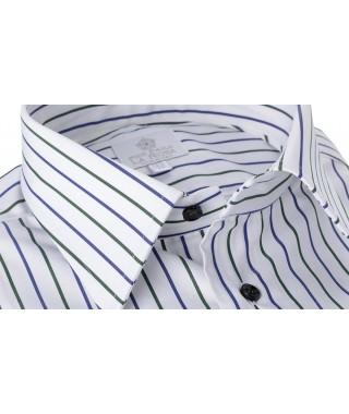 Camicia 100% Cotone Popeline Doppia Riga Verde e Blu