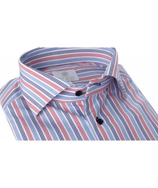 Camicia 100% Cotone Popeline Multicolor Rosso/Azzurro/Blu