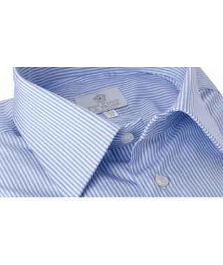 Camicia Popeline Rigato Azzurro