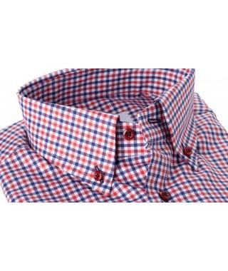 Camicia Quadro Blu Rosso Natural Stretch Twill 100% Cotone