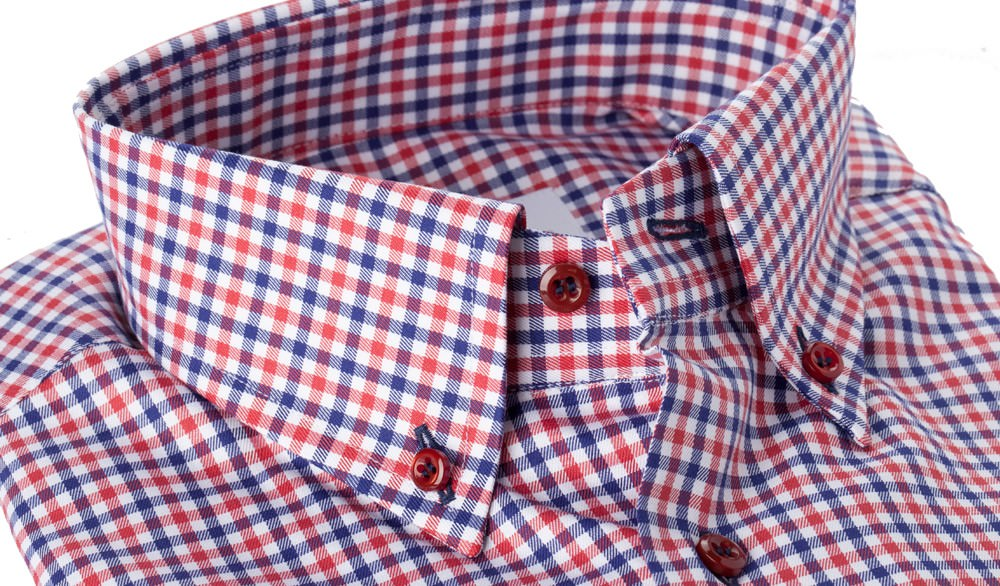 Camicia Quadro Blu Rosso Natural Stretch Twill 100% Cotone
