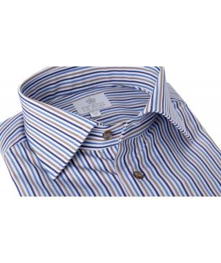 Camicia 100% Cotone Popeline Doppio Ritorto Riga Pari Multicolor Beige/Azzurro/Blu