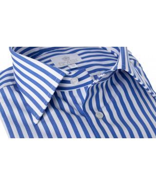 Camicia 100% Cotone Rigato Pari Largo Bluette